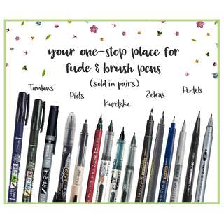 PICK 2 FUDE PENS : price VARIES based on pen choices (Tombow Kuretake Zebra Pilot Fude Brush Pens for Hand and Brush Lettering)