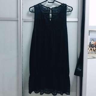 Black Lace Top with Lace Hem