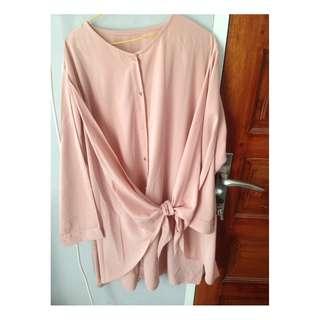 nude midi blouse