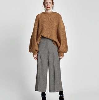 正品 ZARA 灰色人字紋羊毛寬褲