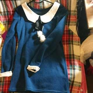 日系學園風深藍色連身裙