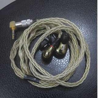 1圈3鐵 耳機 連 8絞單晶銅鍍銀 mmcx 公模 仿 se846