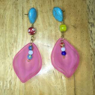 Beachin Out Pink Lucite Earrings
