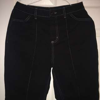 topshop boutique black contrast stitching flared jeans