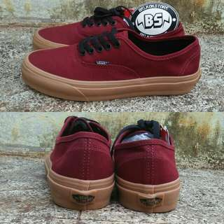 Vans authentic maroon gum sole