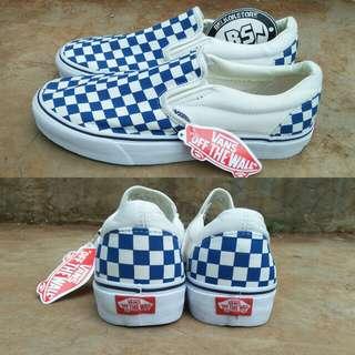 Vans slipon checkerboard navy white
