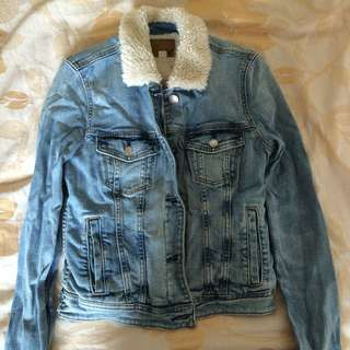American Eagle jean jacket fur 牛仔褸外套