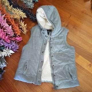Grey fluffy hooded vest SizeL