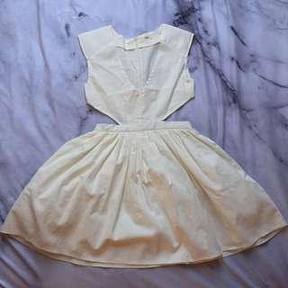 Size S - White Side Cutout Skater Dress