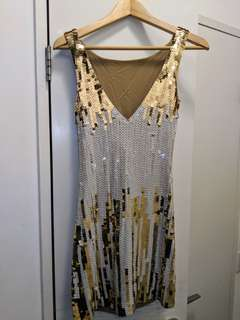 Shiny sequences white and gold dress-size small-new condition