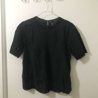 UO Pins + Needles Black Lace Top