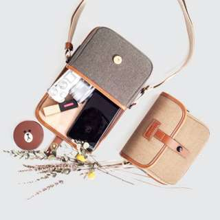 BNIB Herringbone Muppen Micro Charcoal Camera Bag