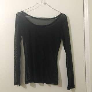 Sheer Black Mesh Longsleeve Shirt