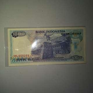 Uang 1000 Rupiah tahun 1992