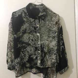 Black and White Sheer Floral Blouse