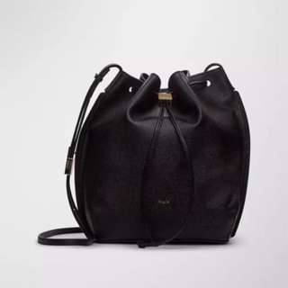 Auxiliary constant bucket bag in black leather