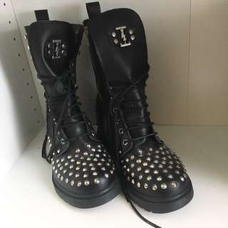 99% NEW STUDDED BLACK LEATHER BOOTS
