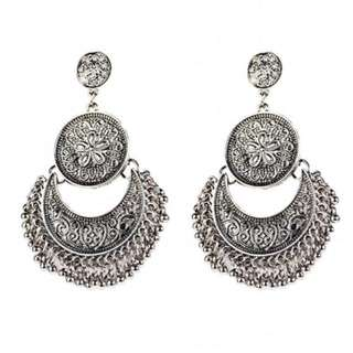 Silver festival earrings
