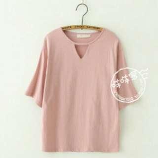 粉色領口挖空短袖上衣 #舊愛換新歡