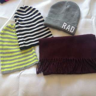 Beanies and scarf bundle