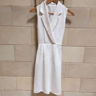 White Soft Stripe Dress