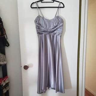 Custom silver midi Bariano spaghetti strap dress Size8