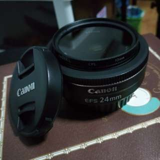 Canon EF-S 24mm f2.8 STM lens with CPL filter