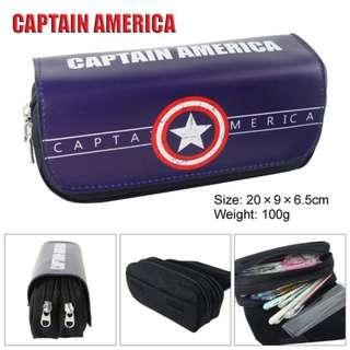 Captain America Multifunctional Double Zipper Canvas Pencil Bag Handbag Purse