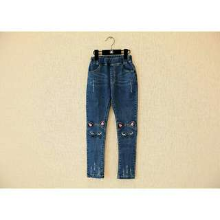 Girl korean version cartoon cay embriodery jeans pencil pants