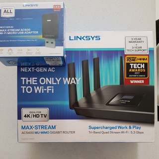 Linksys EA9500 Router with AC600 USB Adapter