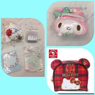 Cinnamoroll, hello kitty, my melody collectibles