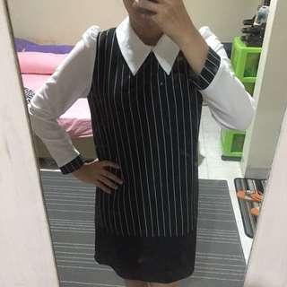 [REPRICE] Collar Stripes Blouse