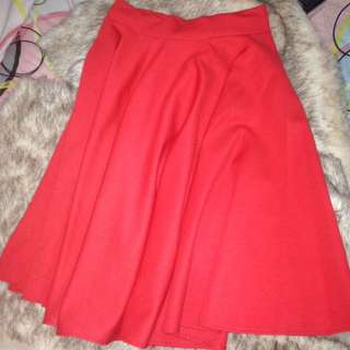 Red maxi skirt