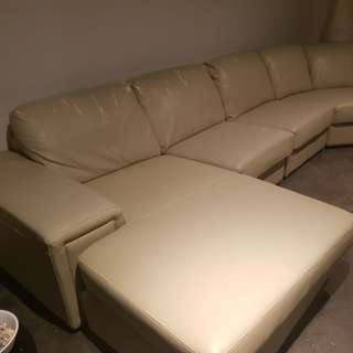 8 seater cream couch and ottomam