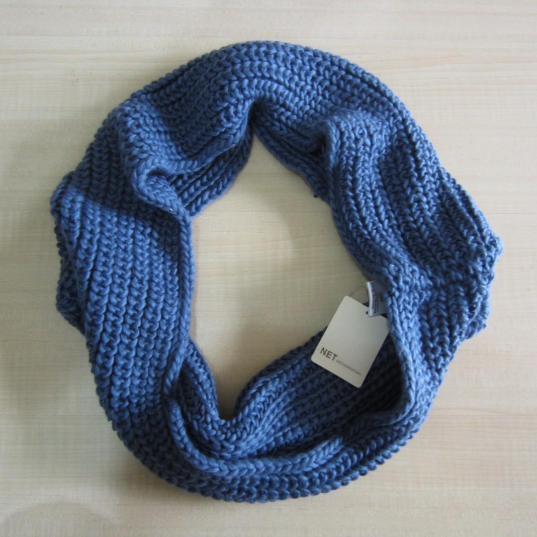 100%全新 net 墨藍色 萬用型 圍巾 脖圍 男女適用 便宜出清 低價起標 買到賺到 一元起標 無底價