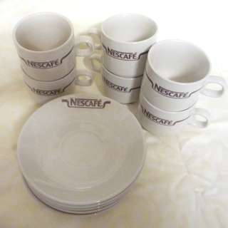 NESCAFE COFFEE Vintage Ceramic 6Pc Cup and Saucer Plate Set Brown Logo