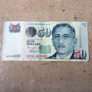 Singapore Portrait Series $50 Banknote Almost Solid 4HP999900