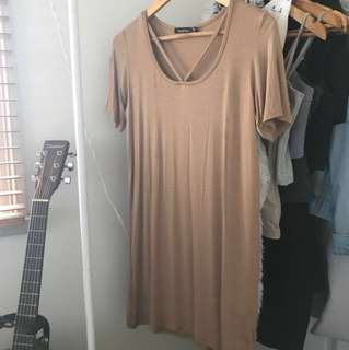 Tan/Brown T-shirt DRESS with Strap Detail and Scoop Neckline
