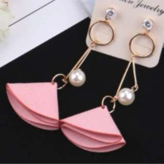 85563 Cloth Flowers Elegant Pearl Tassels Temperament Earrings