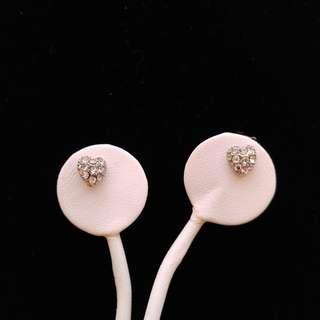 Silver Plated Metal Heart Crystal Stud Earrings