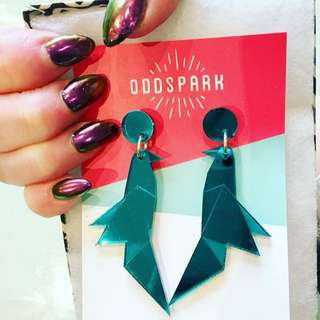 Oddspark Teal Origami Bird Earrings