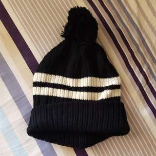 Asos Black and White Striped Beanie