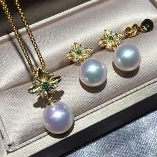 新品🆕️新品 Akoya8.5-9mm吊墜➕耳環套裝 T方鑽石💎祖母綠鑲嵌 超美拉絲工藝😍重金好質感