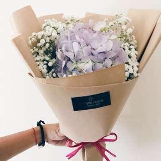 Hydrangea mixed baby's breath bouquet small
