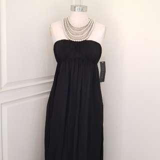 2dedf7c8f Nwt AIDAN MATTOX (like bcbg) Black Silk Chiffon Long Evening Dress with  Pearl Necklace