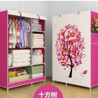 Lemari baju cover peach bear, pink tree, bunga