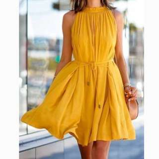 Mirrou mustard yellow knee length halter neck dress