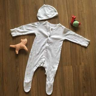 Mothercare sleepsuit and cap set 0-6m