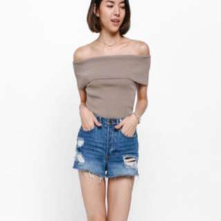 Love Bonito Taria Off-shoulder knit top in Taupe