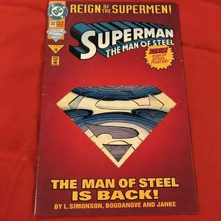Superman: Man of Steel Vol 1 22 June 1993 / 2nd in the Reign of the Supermen arc die cut cover #comics #superman